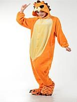 kigurumi Pyjamas Lion Collant/Combinaison Chaussures Fête / Célébration Pyjamas Animale Halloween Orange Mode Brodée Flanelle Costumes de