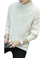 Men's Going out Casual/Daily Simple Cute Street chic Long Pullover,Solid Striped Print Turtleneck Long Sleeves Wool Cotton Acrylic