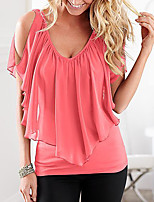 Women's Casual/Daily Simple Summer T-shirt,Solid V Neck Sleeveless Polyester Medium