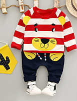 cheap -Boys' Daily Striped Cartoon Clothing Set,Cotton Spring Fall Long Sleeve Casual Red Green