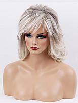 Women Human Hair Capless Wigs Black/Grey Medium Length Wavy Side Part Ombre Hair