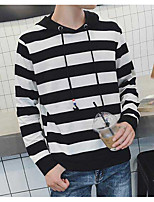 Men's Casual/Daily Hoodie Striped Hooded Micro-elastic Cotton Polyester Long Sleeve Fall