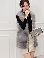 Women's Going out Street chic Winter Fur Coat,Solid Round Neck Sleeveless Regular Others