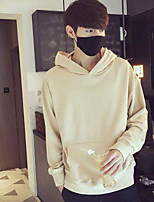 Men's Going out Hoodie Solid Hooded Micro-elastic Others Long Sleeve Fall