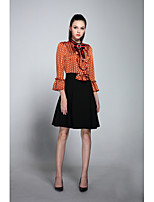NEDO Women's Going out Casual/Daily Cute Street chic A Line Dress,Polka Dot Stand Above Knee Long Sleeves Polyester Summer Fall Mid Rise
