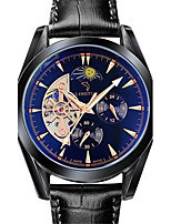 Men's Mechanical Watch Automatic self-winding Noctilucent Genuine Leather Band Casual Black