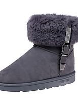 Femme Chaussures Daim Hiver Bottes de neige Bottes Talon Plat Bout rond Strass Pour Décontracté Soirée & Evénement Noir Gris Marron