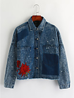 Women's Casual/Daily Vintage Winter Denim Jacket,Solid Shirt Collar Long Sleeve Regular Cotton Embroidered