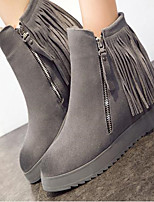 Women's Shoes Real Leather Fall Winter Comfort Boots Wedge Heel Round Toe For Casual Khaki Gray Black