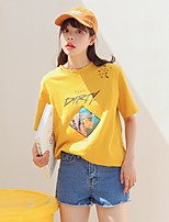 Women's Going out Cute T-shirt,Solid Print Letter Round Neck Short Sleeves Linen