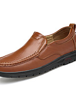 Men's Loafers & Slip-Ons Comfort Spring Fall Nappa Leather Casual Office & Career Flat Heel Dark Brown Light Brown Black Flat
