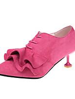 Feminino Sapatos Tecido Primavera Outono Conforto Saltos Salto Baixo Cadarço Para Casual Fúcsia Vermelho Verde Rosa claro Khaki
