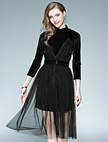 EWUS Women's Going out Casual/Daily Street chic Fall Blouse Skirt SuitsSolid Round Neck  Sleeve Inelastic