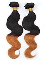 vierge Cheveux Brésiliens A Ombre Ondulation naturelle Extensions de cheveux 2 Noir / Medium Auburn