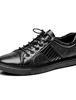 Men's Shoes Real Leather Cowhide Nappa Leather Spring Fall Driving Shoes Comfort Sneakers Lace-up For Casual Office & Career Black