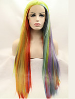 Women Synthetic Wig Lace Front Long Kinky Straight Rainbow Natural Wig Costume Wigs