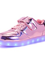 Girls' Shoes Synthetic Microfiber PU Fall Winter Light Up Shoes Comfort Sneakers Magic Tape Lace-up For Casual Party & Evening Blushing