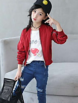 Girls' Embroidered Jacket & Coat,Polyester Fall Winter Long Sleeve