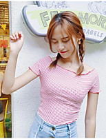 Women's Going out Sexy Active Spring Summer T-shirt,Striped Boat Neck Short Sleeves Cotton Thin