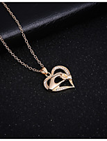 Women's Pendant Necklaces Heart Rhinestone Alloy Love Fashion Jewelry For Birthday Gift