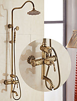 Centerset Widespread with  Ceramic Valve Single Handle Two Holes for  Antique Copper , Shower Faucet