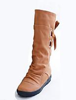 Femme Chaussures Polyuréthane Automne Hiver Confort Nouveauté Bottes à la Mode Bottes Talon Plat Bout rond Bottes Mi-mollet Lacet Pour
