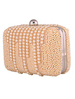Women Bags All Seasons Polyester Evening Bag Pearl Detailing for Wedding Event/Party Champagne White
