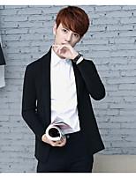 Men's Casual/Daily Short Cardigan,Solid Shirt Collar Long Sleeves Cotton Spring Fall Medium Micro-elastic