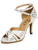 Women's Latin Flocking Sandal Heel Sneaker Indoor Polka Dot Stiletto Heel Blue White 2