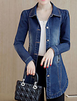 Women's Casual/Daily Simple Fall Winter Denim Jacket,Solid Shirt Collar Long Sleeve Long Polyester
