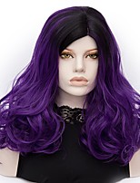 Women Synthetic Wig Capless Medium Deep Wave Dark Purple Ombre Hair Halloween Wig Costume Wigs
