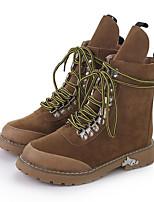 Для женщин Обувь Нубук Осень Зима Армейские ботинки Ботинки На плоской подошве Круглый носок Ботинки Бусины Назначение Повседневные