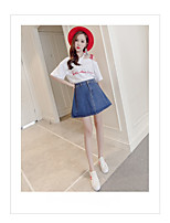 Women's Going out Simple Summer T-shirt Skirt Suits,Solid Word / Phrase Round Neck ¾ Sleeve Micro-elastic