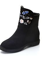 Femme Chaussures Daim Automne Hiver Bottes à la Mode Bottes Talon Plat Bout rond Fleur Pour Décontracté Habillé Noir