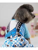Cane Tuta Abbigliamento per cani Casual Cartoni animati Blu Rosa