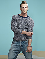 Men's Sports Casual/Daily Vintage Simple Active Short Pullover,Solid Color Block Round Neck Long Sleeves Rayon Polyester Spandex Spring