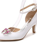 Women's Shoes Silk Spring Fall Ballerina Ankle Strap Wedding Shoes Cone Heel Pointed Toe Rhinestone Crystal Sparkling Glitter For Wedding