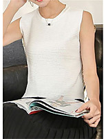 Women's Going out Cute Street chic Summer Tank Top,Solid Round Neck Sleeveless Others Opaque