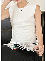 Для женщин На выход Лето Безрукавка Круглый вырез,Очаровательный Уличный стиль Однотонный Без рукавов,Другое,Плотная