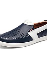Men's Shoes Leather Spring Fall Moccasin Loafers & Slip-Ons For Casual Office & Career Brown Dark Blue Black