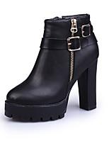 Feminino Sapatos Couro Ecológico Outono Conforto Botas da Moda Botas Salto de bloco Dedo Apontado Botas Cano Médio Ziper Para Casual