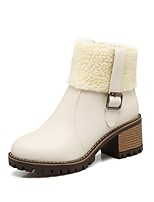 Femme Chaussures Polyuréthane Automne Hiver Confort Bottes Gros Talon Bout rond Boucle Fermeture Pour Blanc Noir Beige
