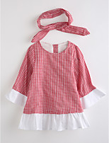 Girl's Plaid Dress,Cotton Fall Long Sleeve