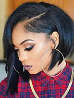 Women Human Hair Lace Wig Brazilian Human Hair Glueless Full Lace 150% Density Asymmetrical Haircut With Baby Hair Straight Wig Black