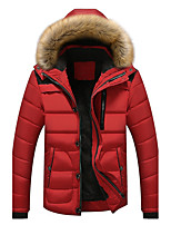 Men's Short Padded Coat,Simple Casual/Daily Striped-Polyester Polyester Long Sleeves