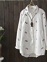 Women's Going out Casual/Daily Simple Cute Street chic Spring Fall Shirt,Solid Embroidery Shirt Collar Long Sleeves Cotton Thin Medium
