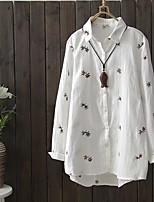 Для женщин На выход На каждый день Весна Осень Рубашка Рубашечный воротник,Простое Очаровательный Уличный стиль Однотонный Вышивка