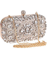 Women Bags All Seasons Polyester Evening Bag Crystal Detailing Pearl Detailing for Wedding Event/Party Black Almond
