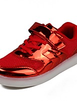 Girls' Shoes Synthetic Microfiber PU Fall Winter Light Up Shoes Comfort Sneakers Magic Tape Lace-up For Casual Party & Evening Red Silver