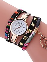 Women's Fashion Watch Bracelet Watch Unique Creative Watch Chinese Quartz PU Band Vintage Charm Elegant Casual Black White Blue Red Brown